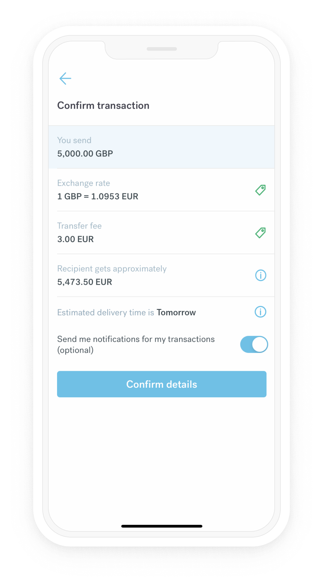 Image of CurrencyFair's app showing transaction details